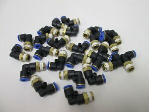 Lot Of 25 New Pneumatic Push in Fitting 1 4 Tubing 90 Elbow 1 4npt Thread