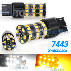 7443 7440 7444 Switchback Led Turn Signal White Amber Type 2 Parking Light Bulbs