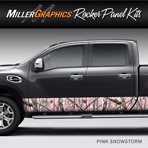 Camo Pink Snowstorm Rocker Panel Graphic Decal Wrap Kit Truck Suv 4 Sizes