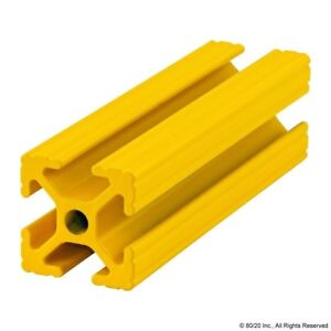 80 20 Inc T Slot Aluminum Extrusion Powder Coated 10 Series 1010 yellow 96 N