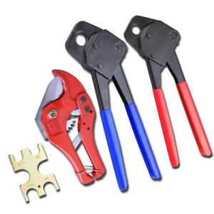 1 2 3 4 Pex Crimper With Gonogo Gauge 1 5 8 Ratchet Cutter Crimping Plumbing Kit
