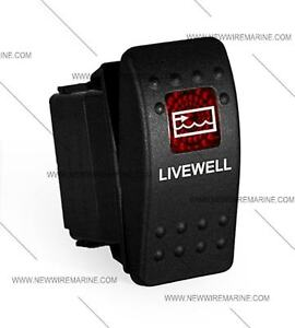 Labeled Boat Marine Contura Ii Rocker Switch Carling Lighted Livewell red Lens