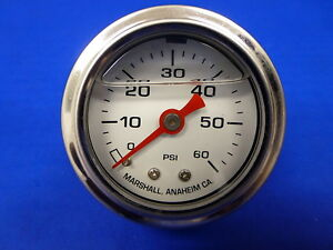 Marshall Gauge 0 60 Psi Fuel Pressure Oil Pressure White 1 5 Diameter Liquid