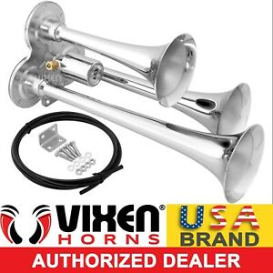 Loud 135db 3 triple Trumpet Train Air Horn Metal Chrome Truck boat 12v Vxh3114lc