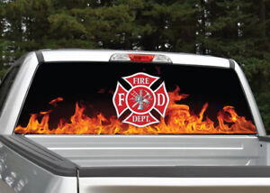 Firefighter Emblem Flames Rear Window Decal Graphic For Truck Suv