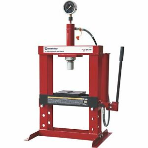 Strongway Hydraulic Shop Press With Gauge 10 ton Capacity