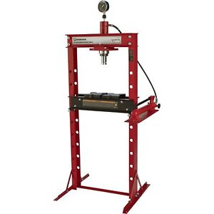 Strongway Hydraulic Shop Press With Gauge 20 Ton Capacity