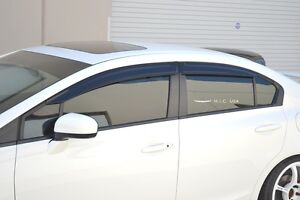 Hic Usa 2012 To 2015 Civic 4dr Sedan Side Window Visor Rear Roof Visor Spoiler