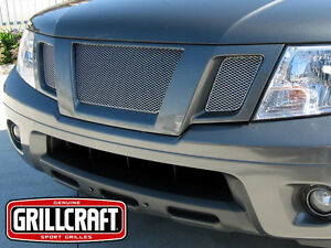3pc Upper Silver Mesh Grille Grillcraft Fits For 2009 2013 Nissan Frontier