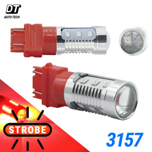 3157 Red Led Bright Strobe Flash Blinking Brake Tail Stop Light Parking Bulbs