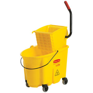Rubbermaid Fg758018yel Wavebrake Side press Bucket wringer Combo Yellow