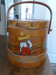 Antique Firkin Sugar Bucket Wooden Lidded Handled Painted Signed Siesta