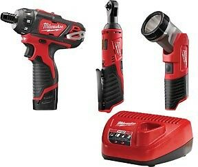Milwaukee 2591 23 12v 1 4 Screwdriver Impact Wrench With 3 Pc Light Fuel Kit