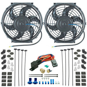 Dual 10 Inch Electric Radiator Cooling Fans 3 8 Npt Probe Fan Thermostat Kit
