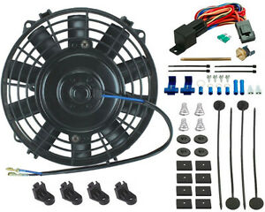 7 Inch Electric Cooling Fan 12v Push in Radiator Fin Probe Ac Thermostat Kit Rv