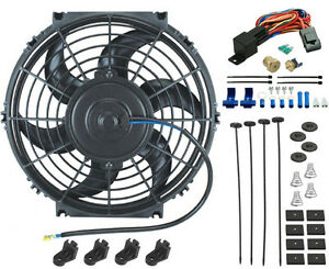 10 Inch Electric Cooling Engine Radiator Car Fan 12 Volt 3 8 Thermostat Kit