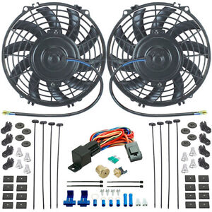 Dual 9 Inch Electric Radiator Cooling Fans 3 8 Npt Probe Fan Thermostat Kit
