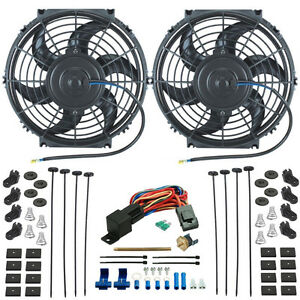 Dual 10 Inch Electric Engine Radiator Cooling Fans Probe Thermostat Switch Kit