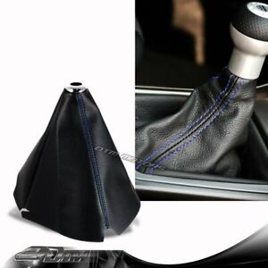 Jdm Blue Stitch Black Pvc Leather Shifter Shift Gear Knob Boot Cover For Subaru