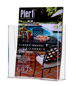 Counter Top Brochure Holder For 7 5 Literature Lot Of 6 Clear Acrylic