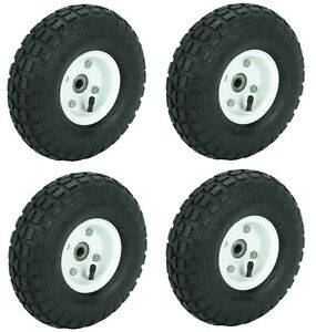 New 4 Tire Set 10 Steel Air Pneumatic Hand Truck Dolly Wagon Industrial Wheel