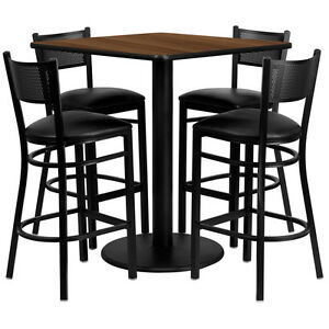 Set Of 10 High top 36 Restaurant cafe Walnut Finish Table And Stool chair Set