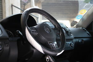Black White Leather Steering Wheel Cover 47011i 14 15 For Subaru Volkswagen