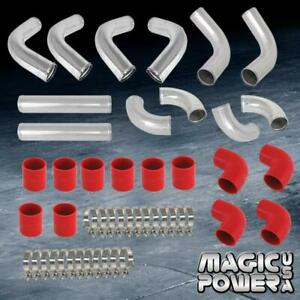 12 Pieces 2 5 Chrome Aluminum Intercooler Piping red Coupler Kit Fit Universal