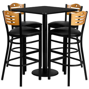 Set Of 10 Square High top Restaurant cafe bar Black Table And Stool chair Set