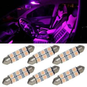 6pcs Pink Purple 41mm 42mm Festoon Led Bulbs Car Interior Dome Map Lights 578