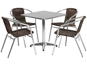 Set Of 10 Square Restaurant cafe bar Indoor outdoor Aluminum Table With 4 Chairs