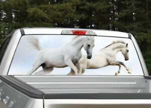 Wild Horses Running White Rear Window Decal Graphic For Truck Suv