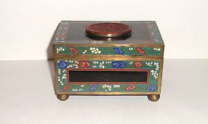 Chinese Floral Carved Cinnabar Lacquer Cloisonne Enamel Humidor Chest Box