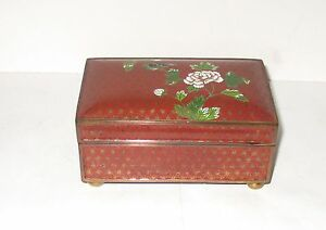 Rare Old 19th Century Chinese Bronze Cloisonne Red Enamel Humidor Box Signed