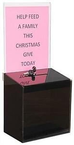 Black Acrylic Suggestion Box With 9 w X 11 h Sign Display And Lock