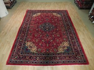 Red Navy Blue Persian Hand Knotted 8 X 11 Area Rug Isfahan Old Classic Design