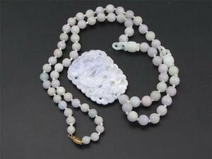 Beautiful Vintage Hand Made Chinese Lavender Jade Beaded Necklace 71 Beads