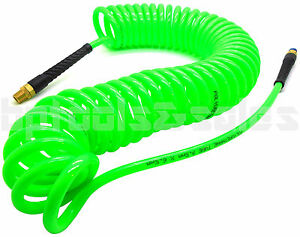 1 4 X 30 Foot Green Polyurethane Re Coil Air Hose Male Swivel Fittings Recoil