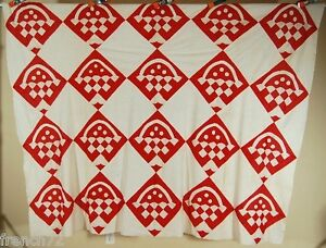 Unusual Vintage 1900 S Red White Baskets Quilt Top Great Design