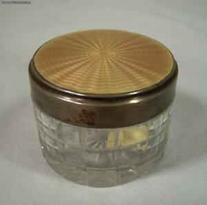English Sterling Silver Crystal Powder Jar With Yellow Guilloche Enamel Top