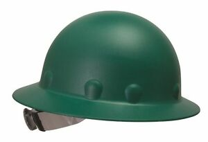 Fibre Metal P1 Supereight Green Full Brim Hard Hat With Ratchet Susp