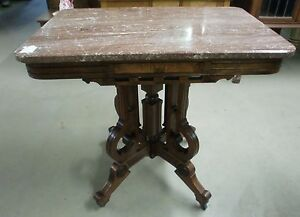 Fantastic Antique Chocolate Marble Top Victorian Burl Walnut Parlor