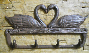 Cast Iron Victorian Style Swan Heart Towel Coat Hooks Hat Hook Key Rack Brown