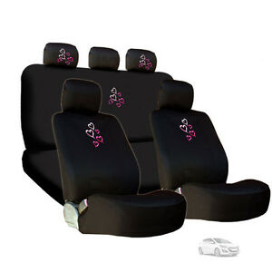 For Hyundai New Embroidery Pink Red Hearts Car Seat Headrest Covers Gift Set