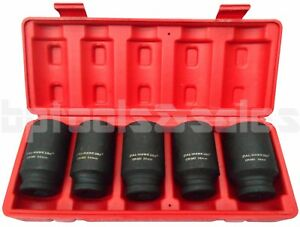 5pc 1 2 Dr Front Back Metric Wheel Spindle Axle Nut Deep Impact Socket Set