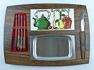 Cheese Serving Board Mid Century Modern Retro Knife Forks Hors D Oeuvres Vintage