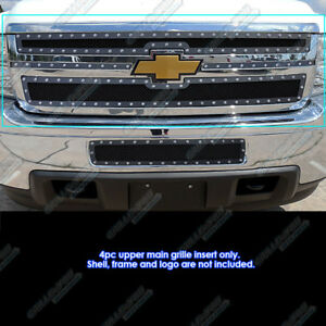 Fits 2011 2014 Chevy Silverado 2500 3500 Stainless Black Rivet Studs Mesh Grille