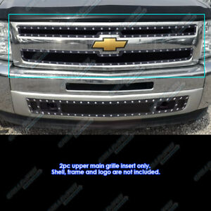 Fits 2007 2013 Chevy Silverado 1500 Stainless Black Rivet Mesh Grille Inserts