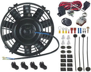 7 Inch Electric Radiator Cooling Fan Adjustable Thermostat Probe Controller Kit