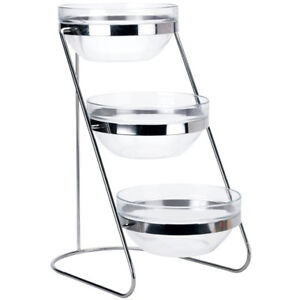 Winco Tds 3 3 tiered 18 8 Stainless Steel Display Server Stand Set With Glass C